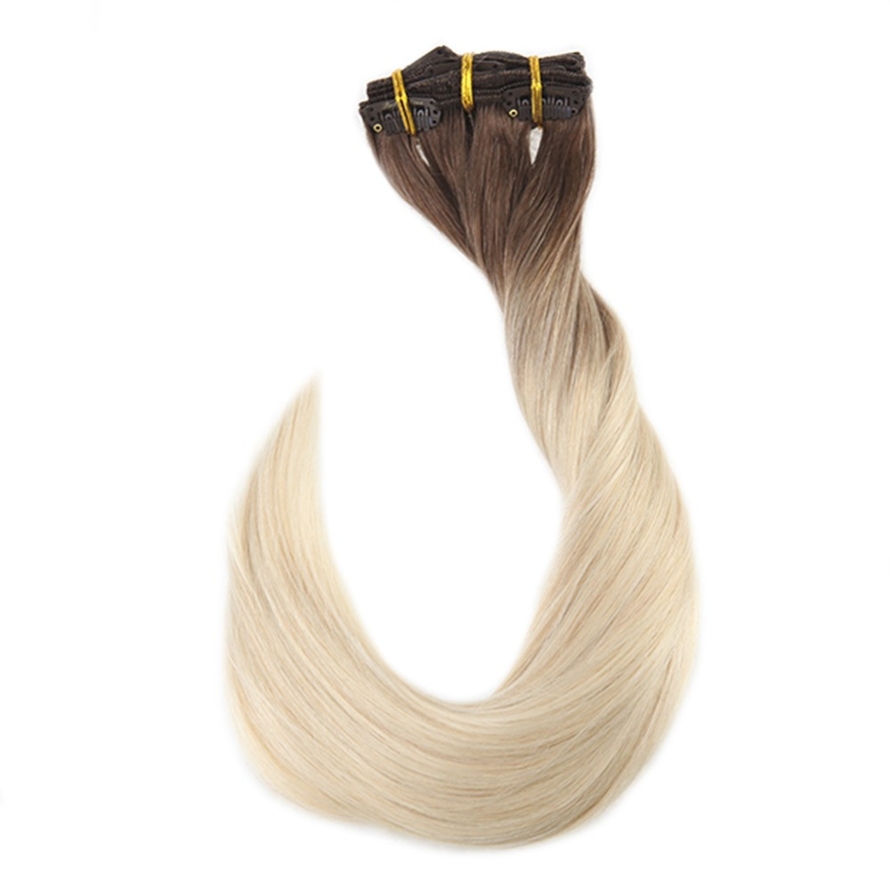 Full Shine Double Weft Clip In Hair Extensions Brown Roots Ombre Color 7B Fading To 613 100g 10Pcs Balayage Hair Clip Ins