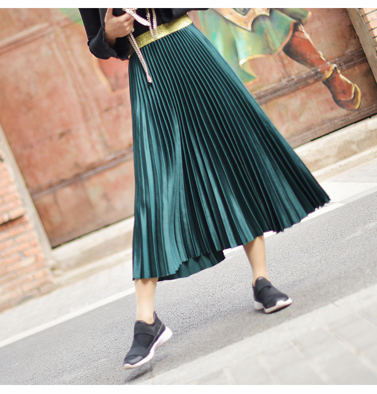 Stretch High Waist Long Pleated Skirt 2