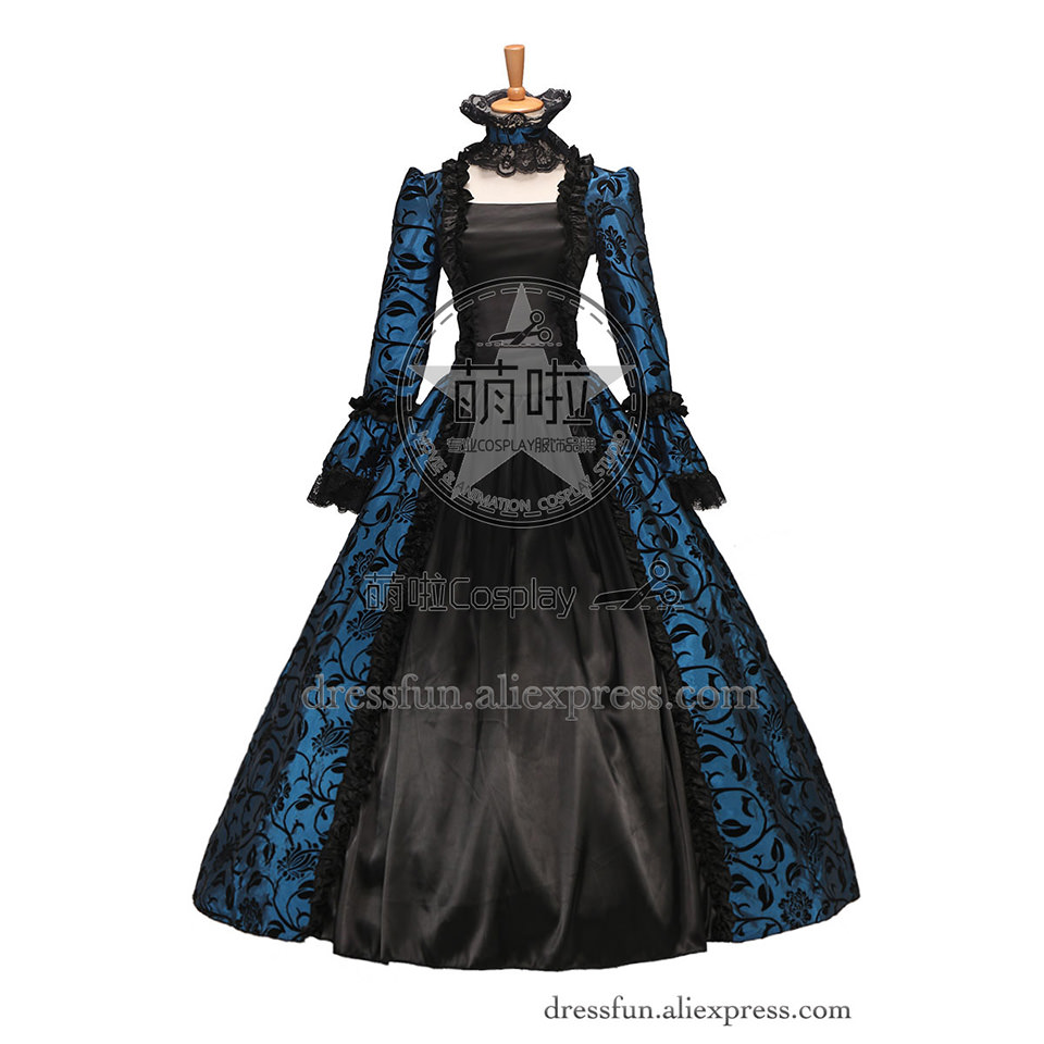 Victorian Gothic Satin Ball Gown Wedding Dress Georgian Period Blue With Lace Decorated And Neck Covered Beautiful For Party