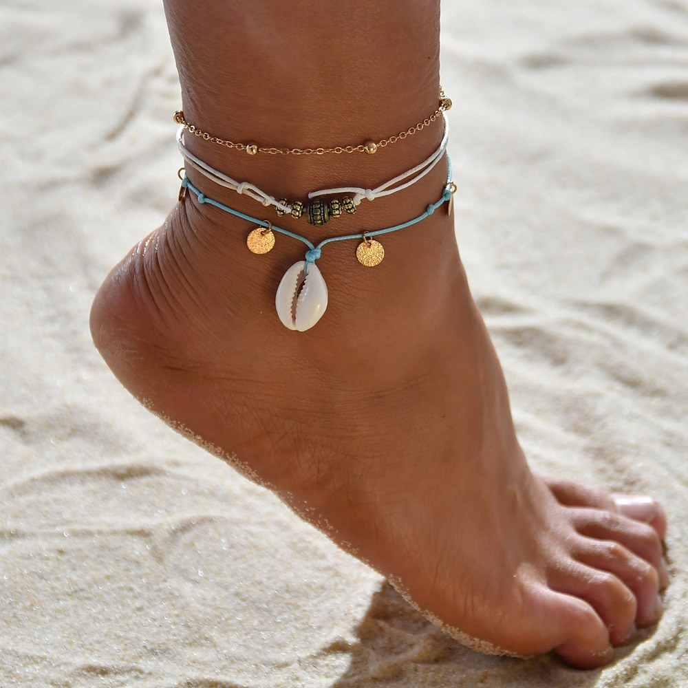 Huitan Ethnic Ankle Chain Bohemian Blue Stylish Gypsy Accessories Jewel Exotica Femme Foot Bracelets Geometric Women Anklets