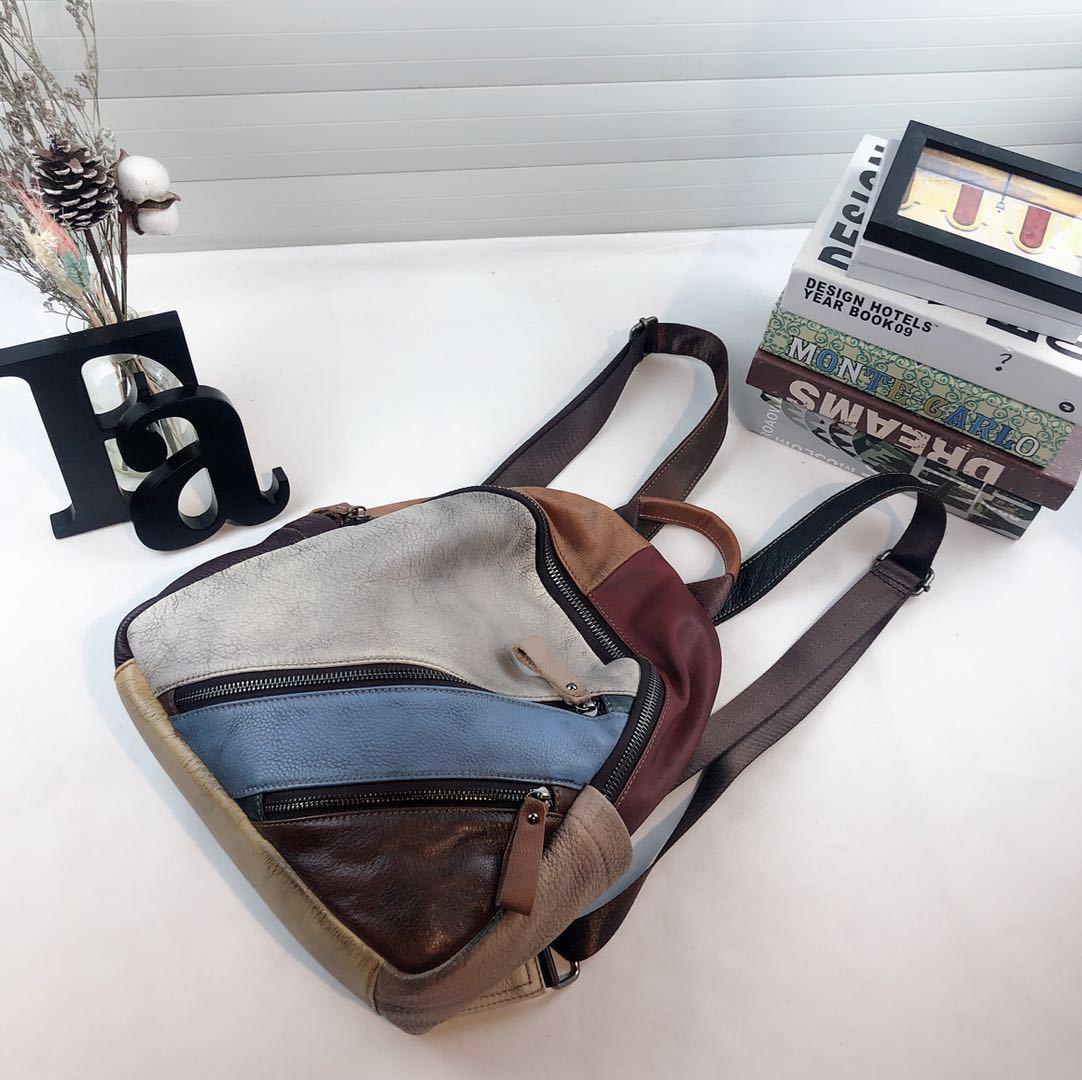 Patchwork prawdziwej skórzany plecak kobieta w stylu Vintage skóra naturalna codzienny plecak 2019 kobiety kobiece wysokiej jakości plecak na co dzień w Plecaki od Bagaże i torby na  Grupa 3