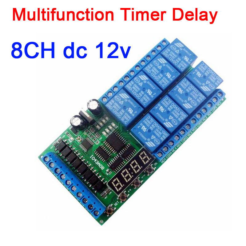 DYKB DC 12V 8 Channels Multifunction LED Timer Delay Relay Board Time Switch Timing Loop Interlock Self locking Digital display