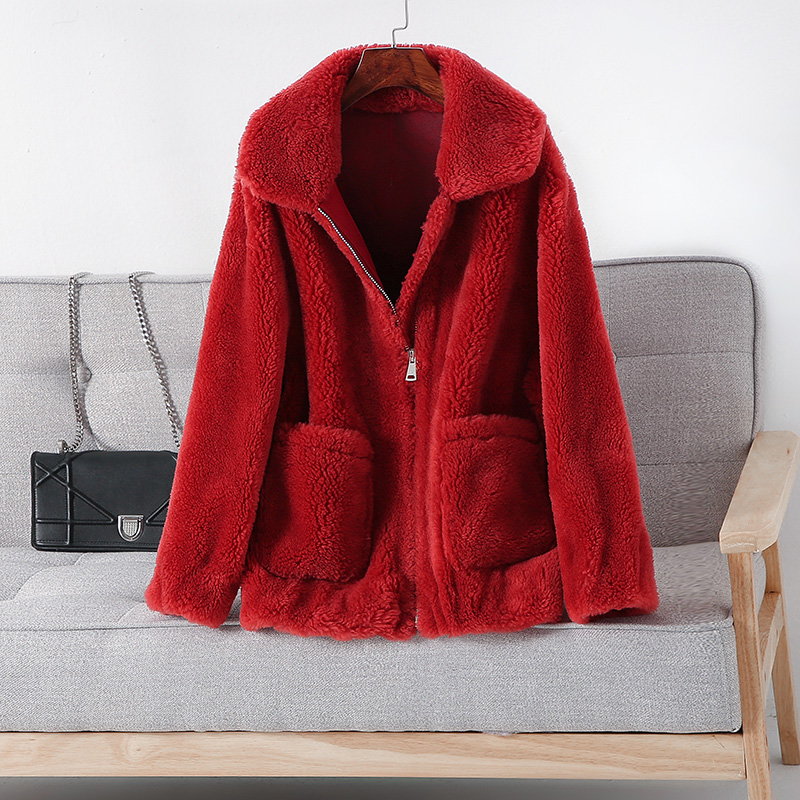 Courte Véritable Veste Lx2524 red blue Manteau light Fourrure Hiver Épaississent 2019 Nouveau Chaud Ayunsue De D'hiver Laine Camel Sheap En Femmes Beige Cisaillement Femme 71qfO0w