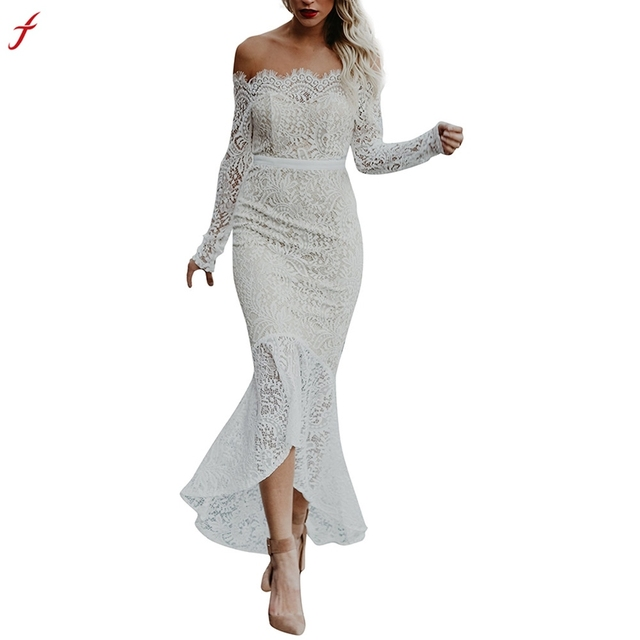 bebae8b42ee 2018 Short Front Long Back Summer off shoulder Casual Dress Hollow Out  Elegant White Lace Dress Women Short Party Dress Vestido