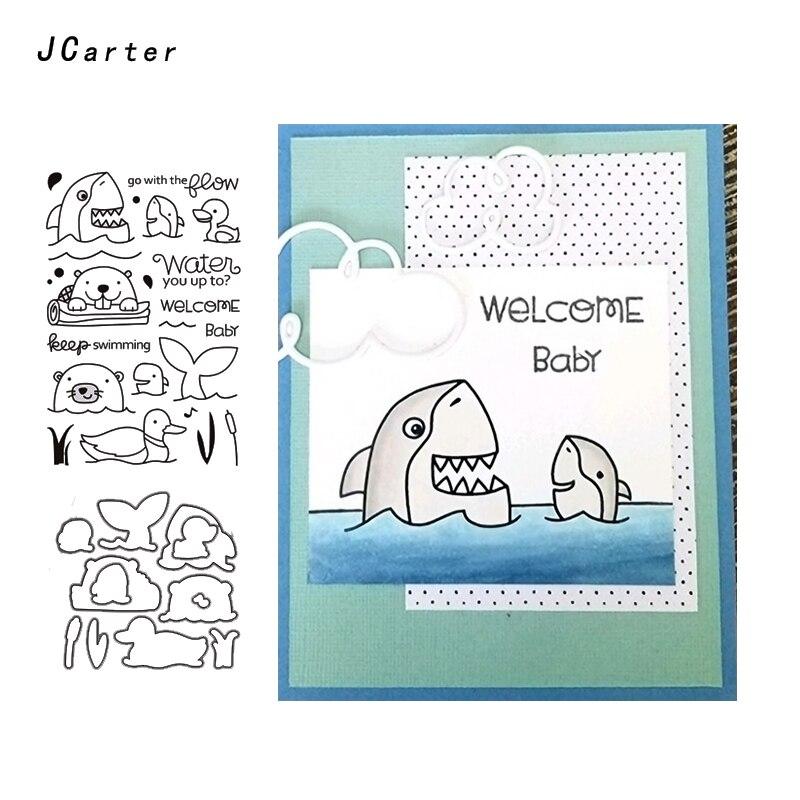 JC Metal Cutting Dies and Rubber Stamps for Scrapbooking Shark Ducks Craft Cut Decoration Card Making Stencil Album Sheet