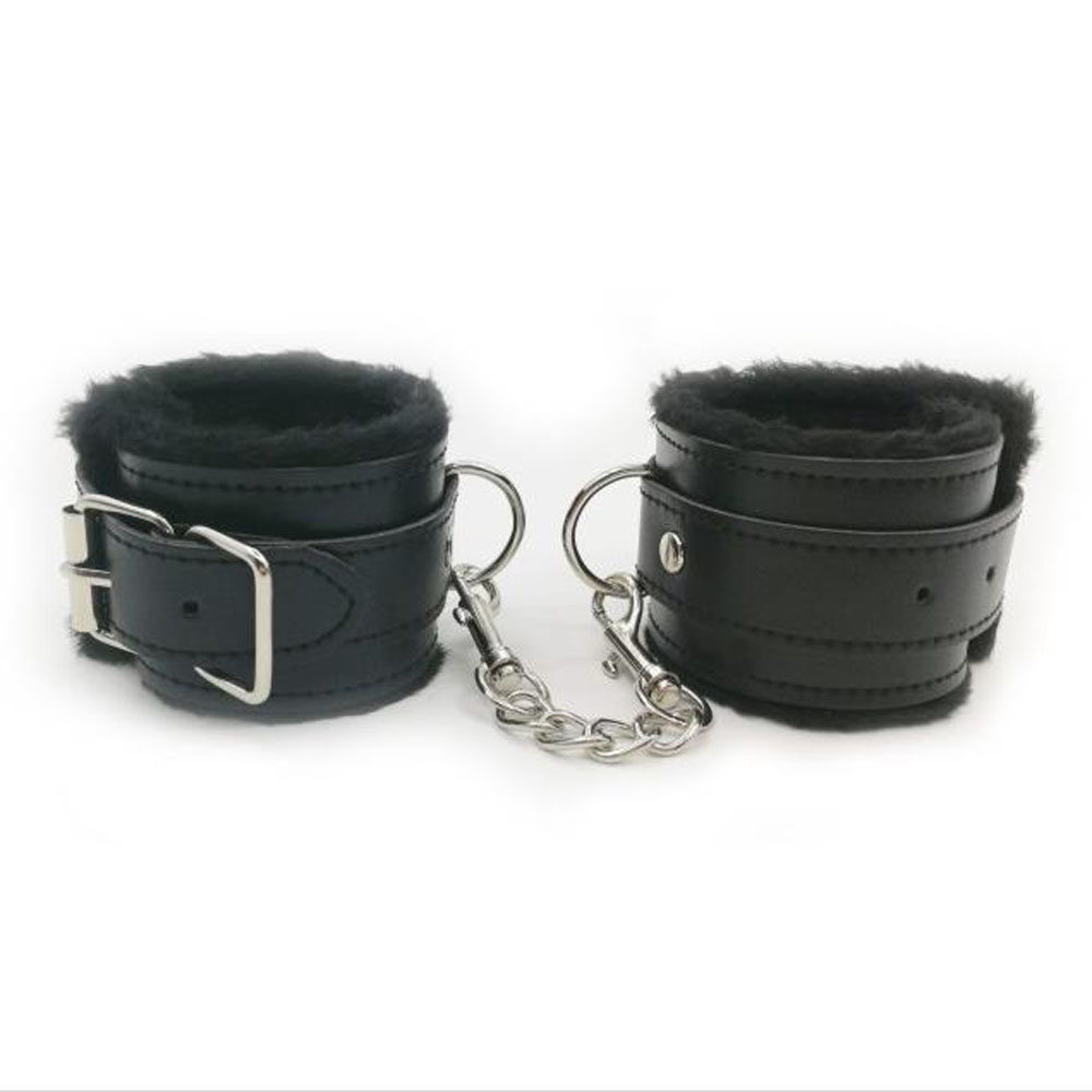 1 Pair Plush PU Leather Handcuffs Restraints BDSM Bondage Ankle Wrist Cuffs Slave Sex Products For Couple Exotic Accessories in Adult Games from Beauty Health