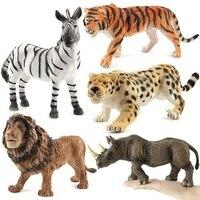 ZXZ Hot Set Plastic Zoo Big Animal Figure Tiger Leopard Hippo Giraffe Kids Toy Lovely Animal