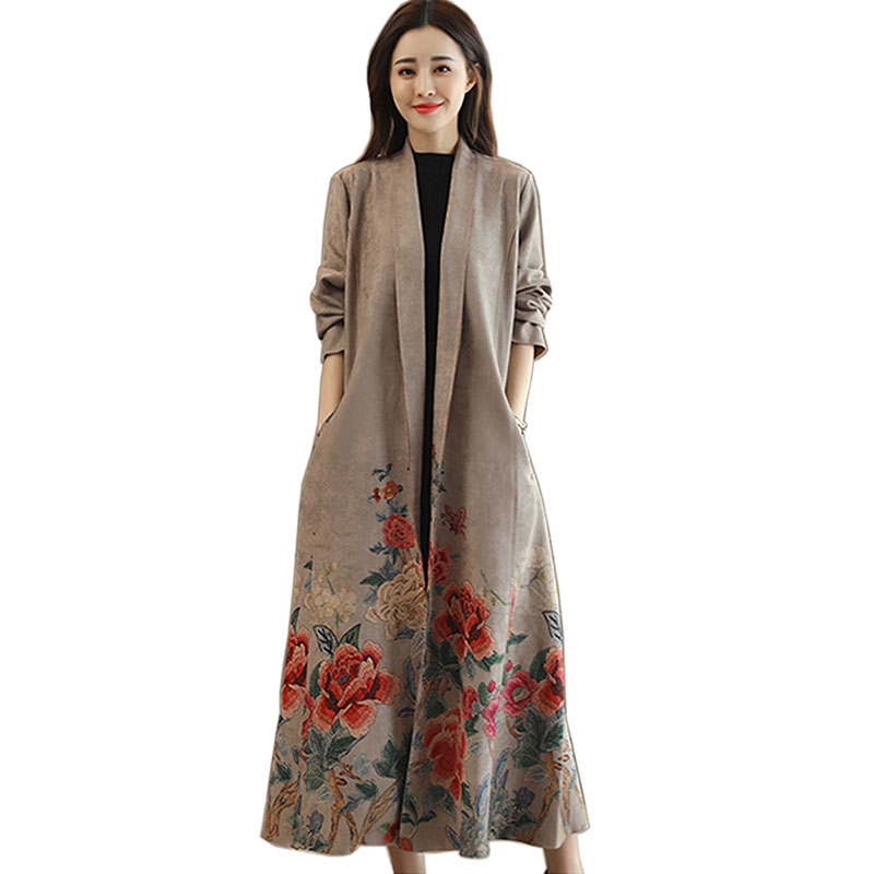 Spring and Autumn winter women's new national wind-printed coat with a long paragraph Suede Slim   trench   coat