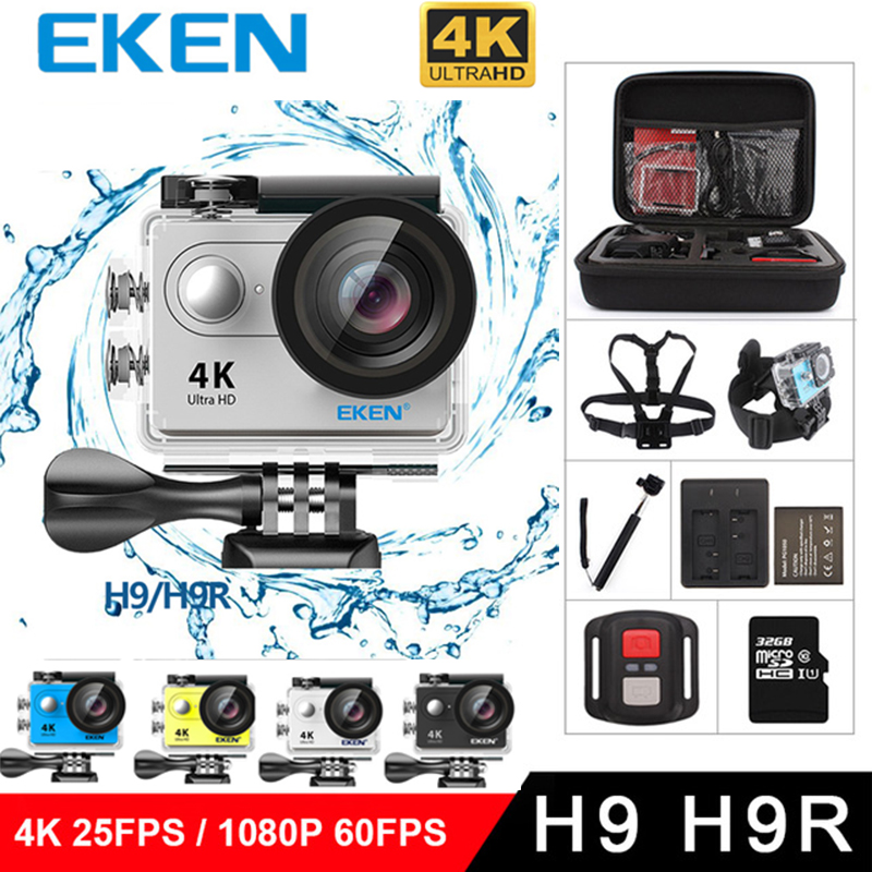 New Original EKEN H9 / H9R Action Camera Ultra HD 4K WiFi 1080P/60fps 2.0 LCD 170D Lens Helmet Cam Waterproof pro Sports Camer eken h9 h9r original action camera ultra hd 4k 25fps 1080p 60fps wifi 170d sport video camcorder dvr dv go waterproof pro camera