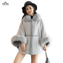 Female Poncho Fashion Loose Woolen Cloak Fur Collar Batwing Sleeves Women Wool Coat New Autumn Outerwear Woolen Overcoat OK62R(China)