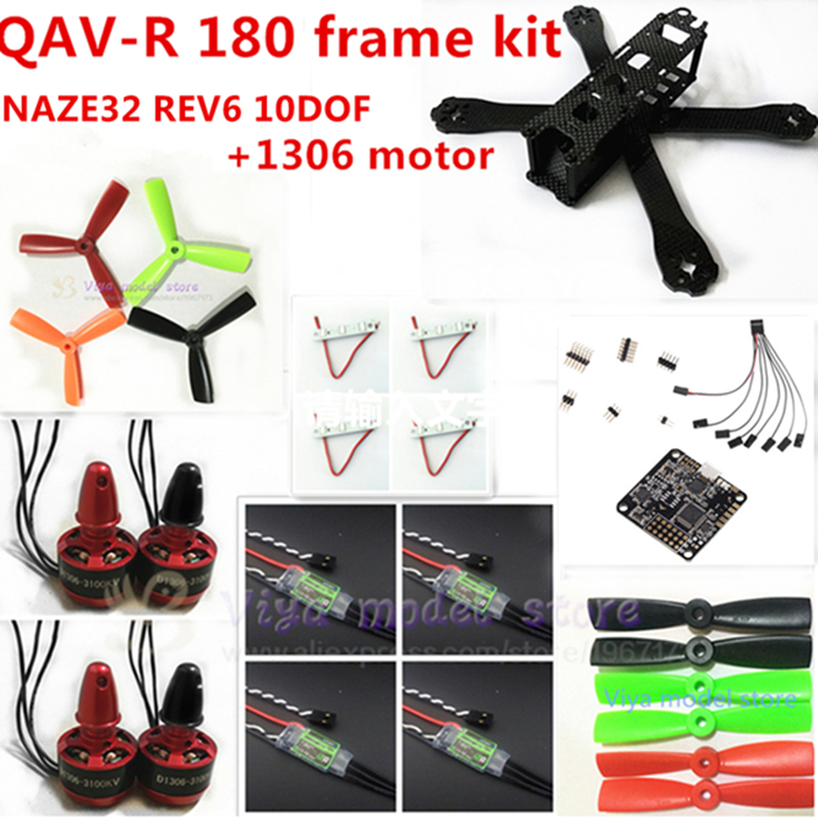 new DIY FPV mini drone QAV-R 180 quadcopter pure carbon frame kit frame + dragonfly 6A ESC 2-4S + CC3D/ NAZE32+1306 3100KV motor carbon fiber diy mini drone 220mm quadcopter frame for qav r 220 f3 flight controller lhi dx2205 2300kv motor