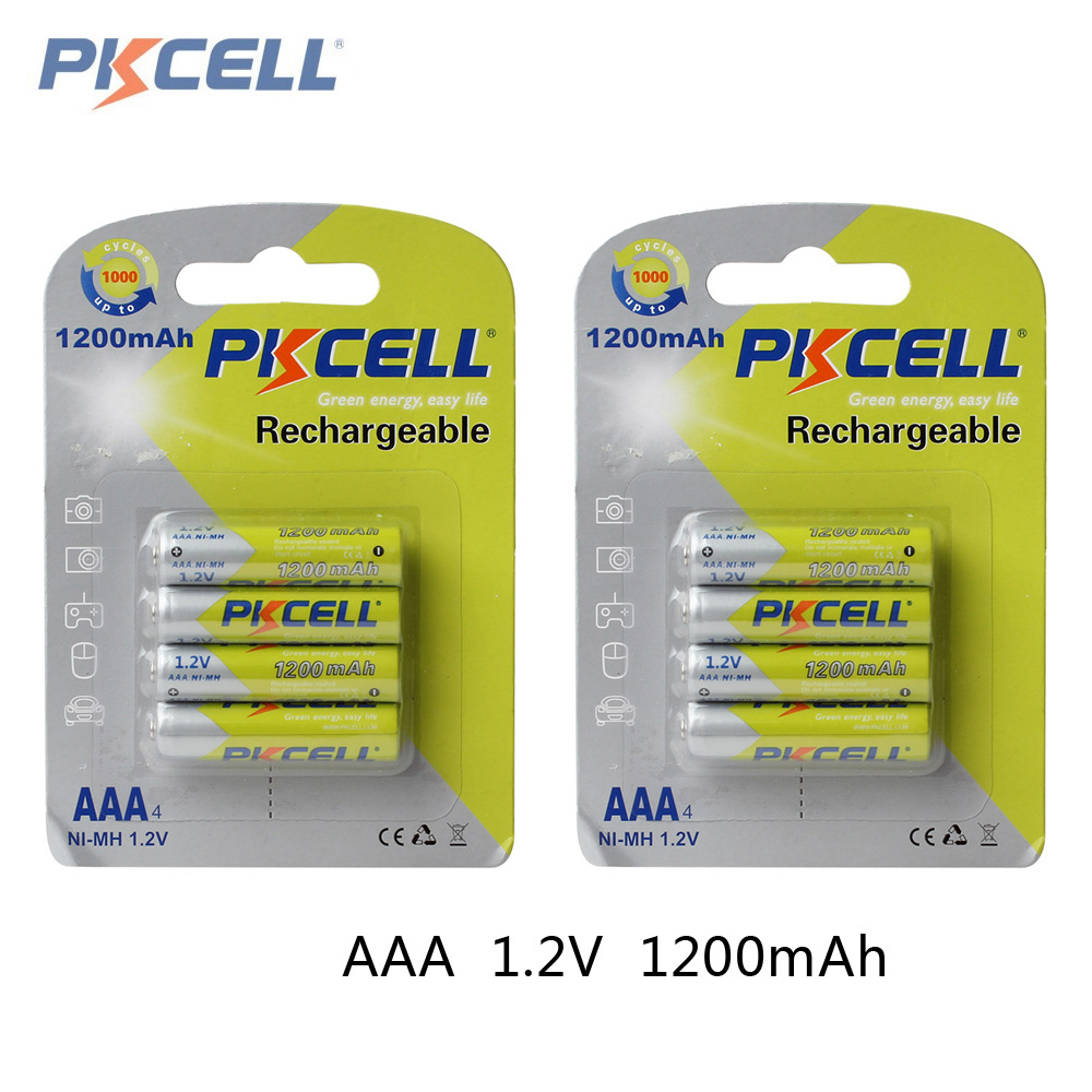 8pcs! Pkcell 1200mAh 1.2V Ni-Mh AAA Rechargeable Battery Real High Capacity AAA NiMh Batteries Set With 1000 Cycle