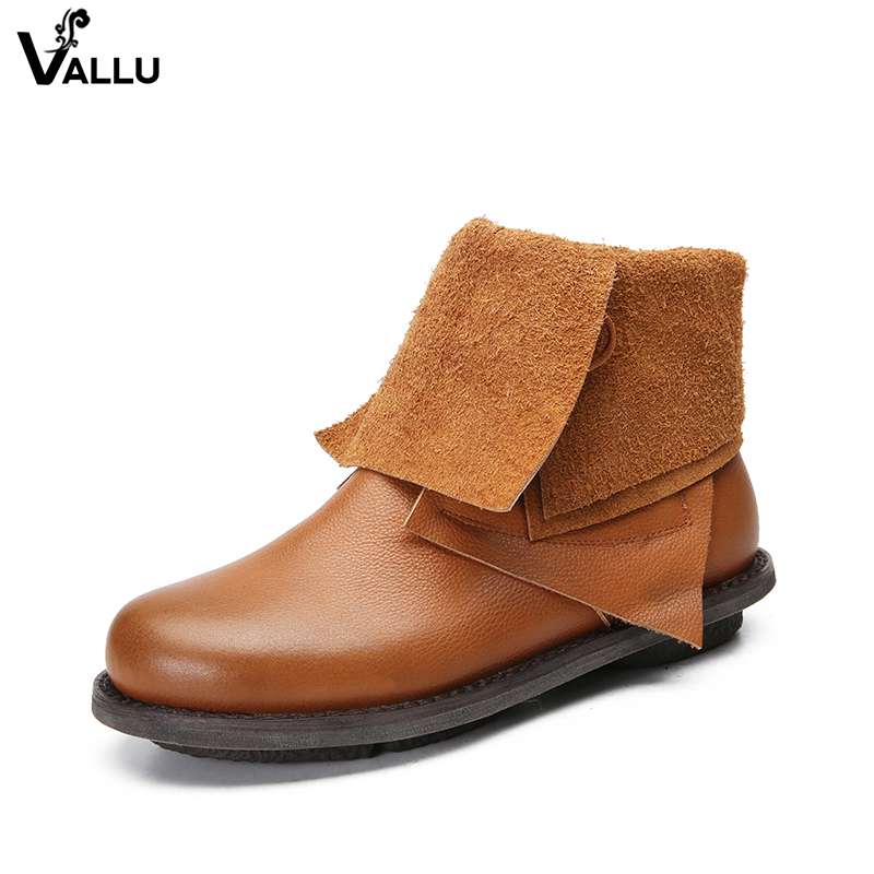 VALLU Vintage Retro Handmade Women Boots Mid Calf Genuine Leather Lace up Low Heel Women Shoes new arrival superstar genuine leather chelsea boots women round toe solid thick heel runway model nude zipper mid calf boots l63