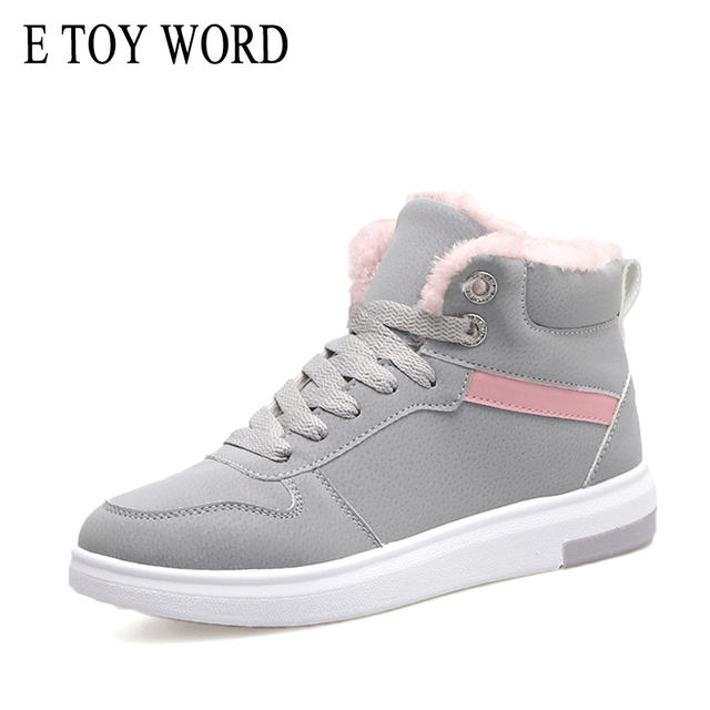 E TOY WORD 2018 Women Winter Boots Warm Platform Snow Ankle Boots Women Casual Shoes Lace Up Sneakers women's boots