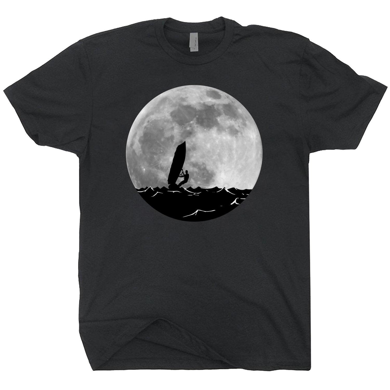 2018 Fashion Summer Hot sale Windsurfing Full Moon T-shirt Retro Windsurfing Shirt Tee shirt