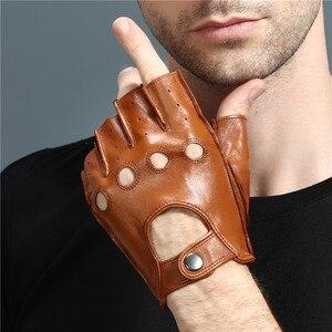 Image 5 - High Quality Mans Half Finger Gloves Breathable Non Slip Fitness Leather Fingerless Gloves Black Camel Driving Gloves Male NAN7