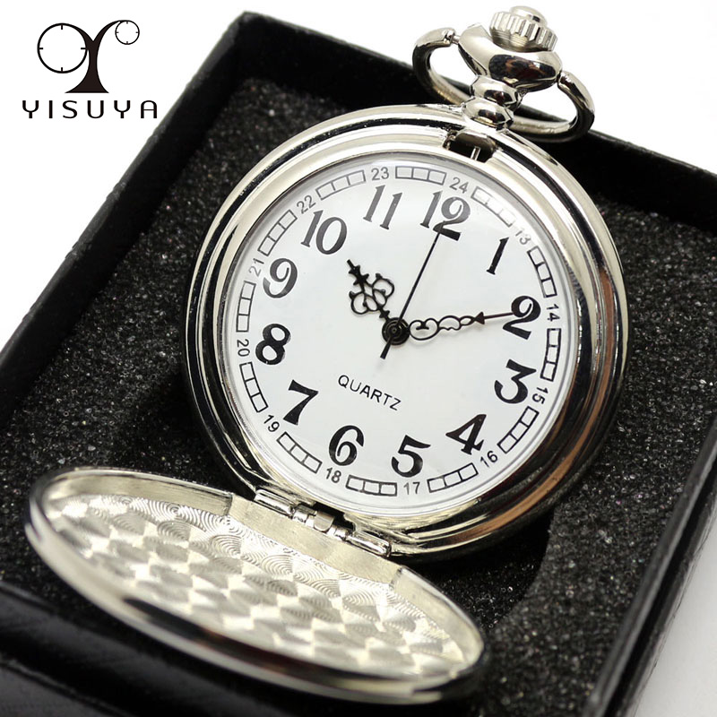 Smooth Black/Silver Case Quartz Pocket Watch Full Hunter Gift Box Women Men Fob Watch Clock Wholesale relogio de bolso silver smooth case vintage roman number hand wind mechanical pocket watch double open hunter case fob watches men women gift