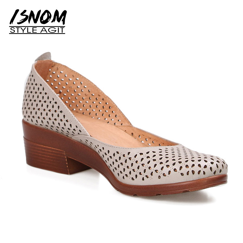 ISNOM New Summer Thick Heels Woman Pumps Shallow Round Toe Cutout Footwear Leather 2018 Fashion Casual Female Autumn Shoes