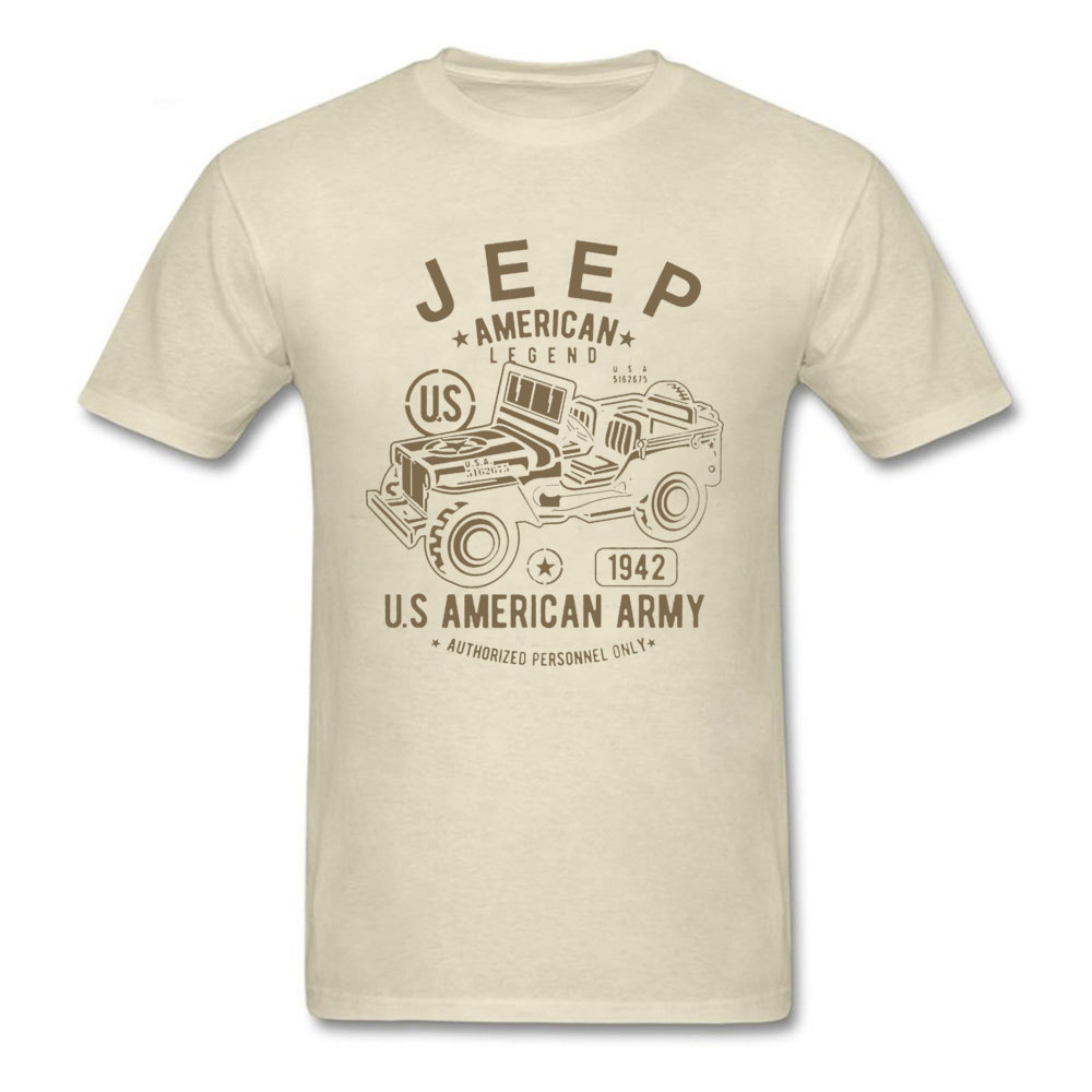 JEEP American Legend Army Tshirt Hot Sale Cotton Men's Tops Car T Shirt Military Style Beige Clothing Vintage Design Tee Shirts