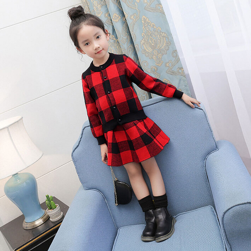 New Brand Girls Clothes 2016 Autumn Kids Clothing Sets Long Sleeve Plaid Jacket Coat+Skirt 2pcs Baby Girl Clothes Set For 2-8T
