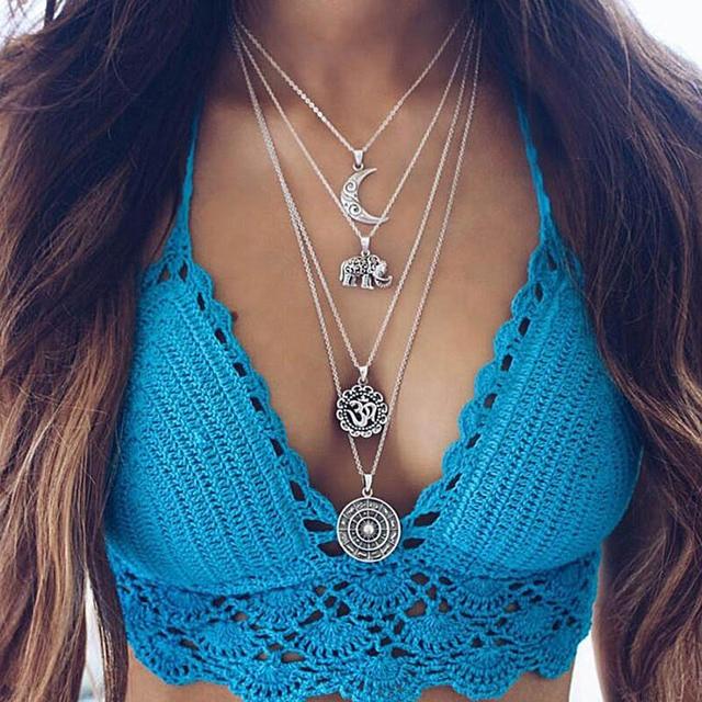 Femme Bohemian Necklace Women Hippie Boho Statement Multi layer Necklace Bib Nec