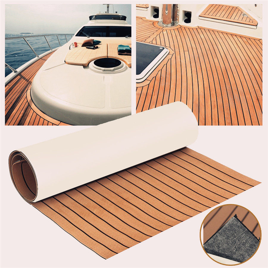 600x2400x5mm Self Adhesive Brown Black Teak Decking EVA Foam Marine Flooring Faux Boat Decking Sheet