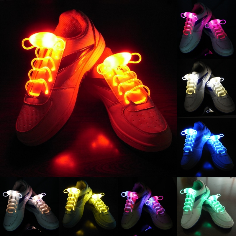 1 Pair Fashion LED Luminous Shoelaces Flash Party Glowing Strings Athletic Sport Sneakers Flat Shoes Laces for Boys Girls hot glowing sneakers usb charging shoes lights up colorful led kids luminous sneakers glowing sneakers black led shoes for boys