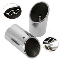 2X Stainless Steel Car Rear Tail Exhaust Tail Muffler Tip Pipe Tube TailPipe Chrome For Audi