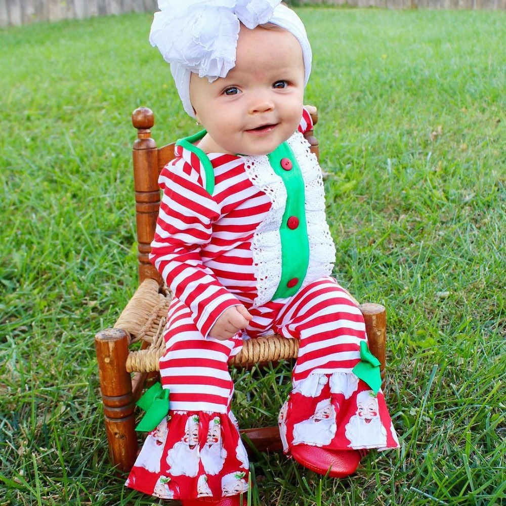 New Winter Baby Clothes Children Christmas Cotton Ruffle Romper Baby Girls First Christmas Jumpsuit Ruffle Baby Romper D0316