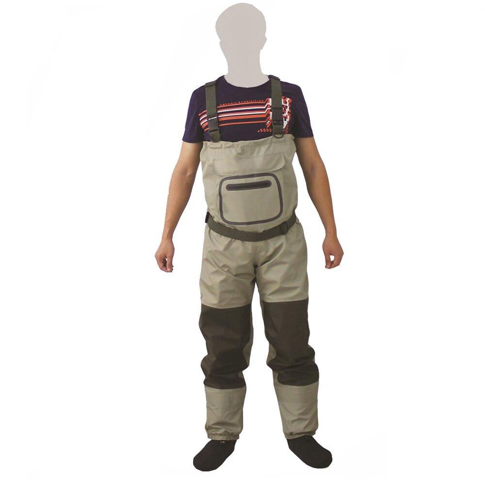Pêche à la mouche respirant poitrine cuissardes Rafting porter imperméable wader pantalon chasse wading pantalon salopette avec pied de bas