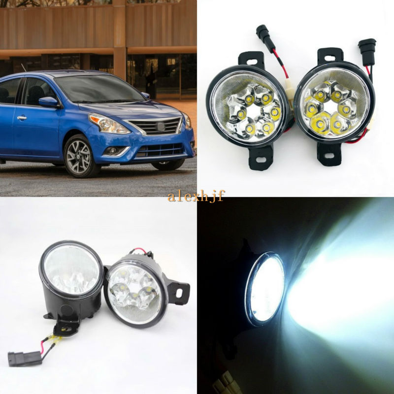 July King 18W 6LEDs H11 LED Fog Lamp Assembly Case for Nissan Versa 2012~ON,  6500K 1260LM LED Daytime Running Lights july king 18w 6leds h11 led fog lamp assembly case for nissan versa 2012 on 6500k 1260lm led daytime running lights