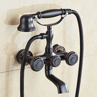 ORB Brass Wall Mount Stand Bathroom Clawfoot Bath Tub Faucet With Handheld Shower Head Cold Hot Mixer Tap Antique Black JP255