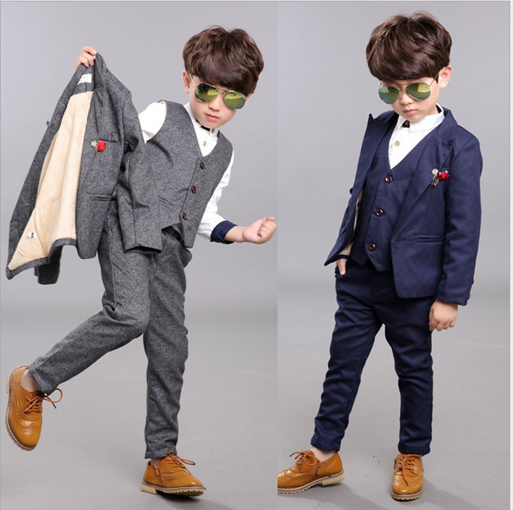 children clothes boys set plaid coatvest long pants suits for wedding toddler kids tuxedo suit for 3 8t spring and autumn