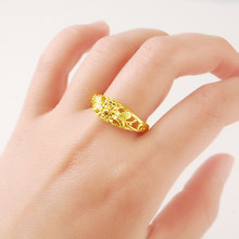 Wholesale 24K Pure Gold Rings for Women Luxury Vintage Wedding Jewelry Gifts Vintage Accessories anillos mujer Jewellery(China)