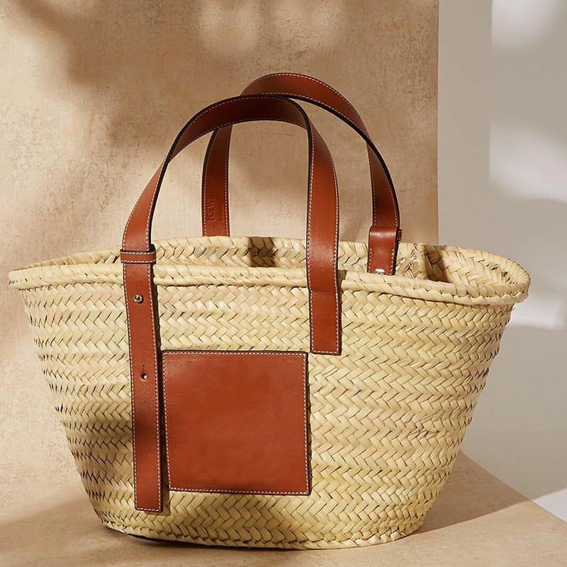 2019 Luxury Designer Beach Bag High Quality Famous Brand Straw Bags Women Summer Raffia Handbag Travel Palm Basket Tote Carrycot