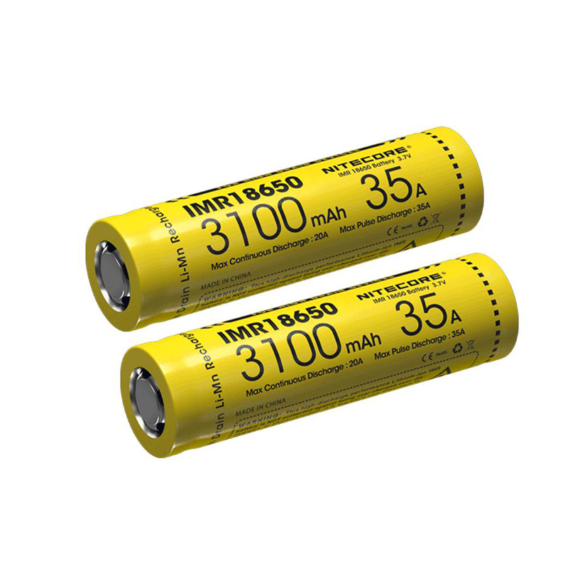 2pcs NITECORE IMR 18650 li ion battery 3100mAh 35A 3 7v High Drain Battery