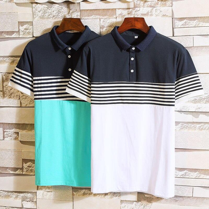 2019 summer Men's fashion 95% cotton   Polo   shirts Mens high quality short sleeves stripe   Polo   shirt men size M-4XL