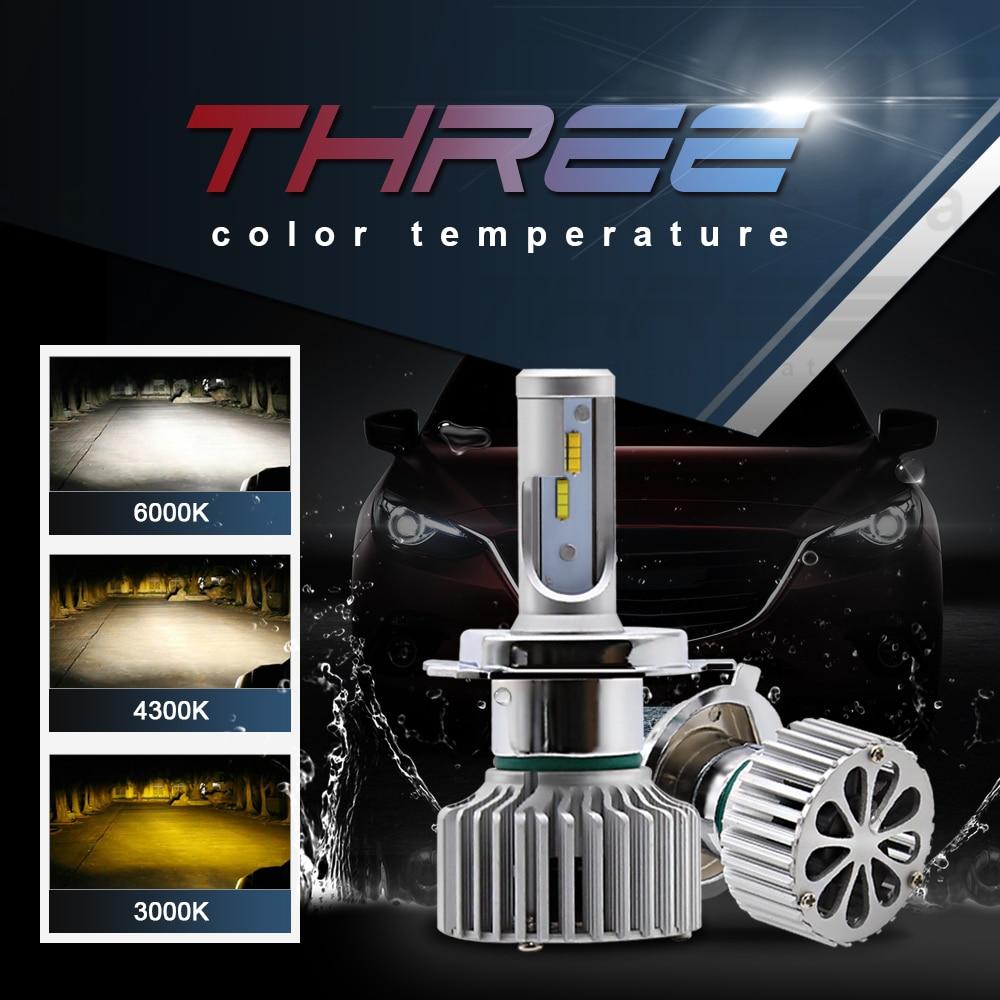 EURS New Modification LED ampoule H7 H4 H11 H1 H3 880 9005 9006 LED Phares De Voiture 3000 k/jaune 4300 k/chaud 6000 k/blanc 3 Couleur canbus