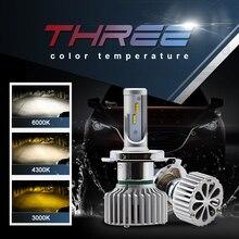 EURS T5 Auto Lâmpadas LED H7 H4 H11 H1 H3 880 9005 9006 LEVOU Faróis Do Carro Mini Canbus 3000 k 4300 k 6000 k temperatura de Cor de três