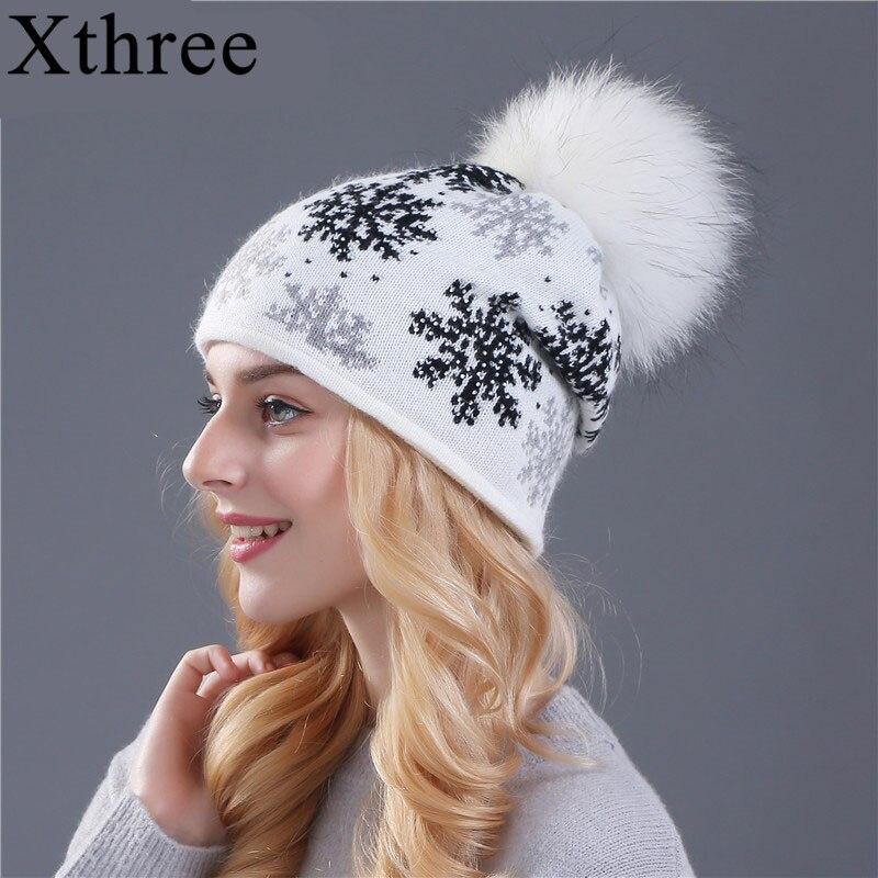 XTHREE real mink pom poms lana piel de conejo punto hat Skullies sombrero de invierno para mujeres niñas sombrero femenino de las gorritas tejidas