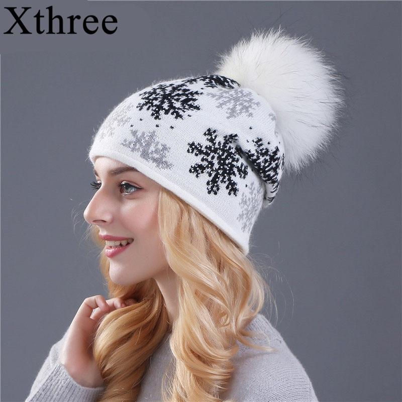 XTHREE valódi nyérc pom poms gyapjú nyúl szőrme kötött sapka Skullies téli sapka női lányok kalap feminino babák kalap