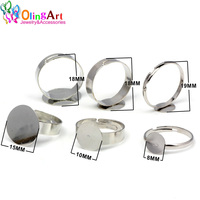 OlingArt 24pcs/Lot Ring with 8/10/15mm pad Adjustable Ring Base Ring Blanks Ring care   Jewelry     Findings   Accessories   Components