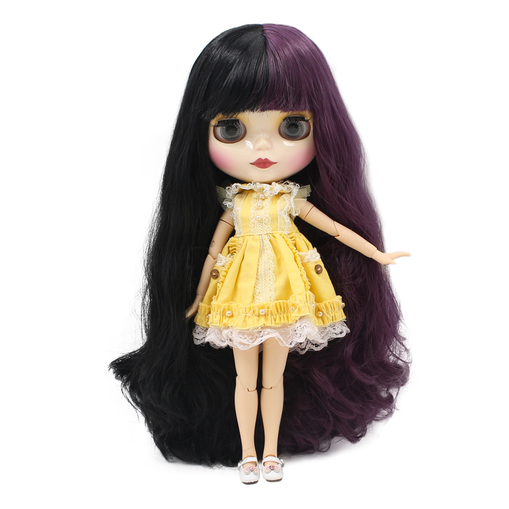 Free shipping Factory Nude Blyth Doll Mixed Color Purple Black Long Wavy with bangs Hair Joint