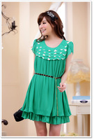 2017 plus size XXXL Korean design ruffles summer dress with belt O neck women chiffion dress casual orange/green