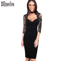 New Arrival Women Sexy Dress 2017 O Neck 3 4 Sleeve See Through Lace Slim Bodycon