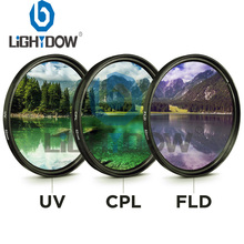 цена на 49MM 52MM 55MM 58MM 62MM 67MM 72MM 77MM UV+CPL+FLD 3 in 1 Lens Filter with Bag for Cannon Nikon Sony Pentax Fujifilm Camera Lens