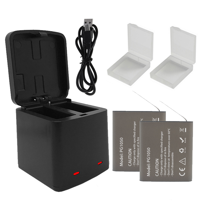 Dual Storage Battery Charger and 1050mAh <font><b>PG1050</b></font> Camera Battery for EKEN H9 H9R H3R H8R H5S H6S SJCAM SJ4000 SJ5000 5000X Battery image