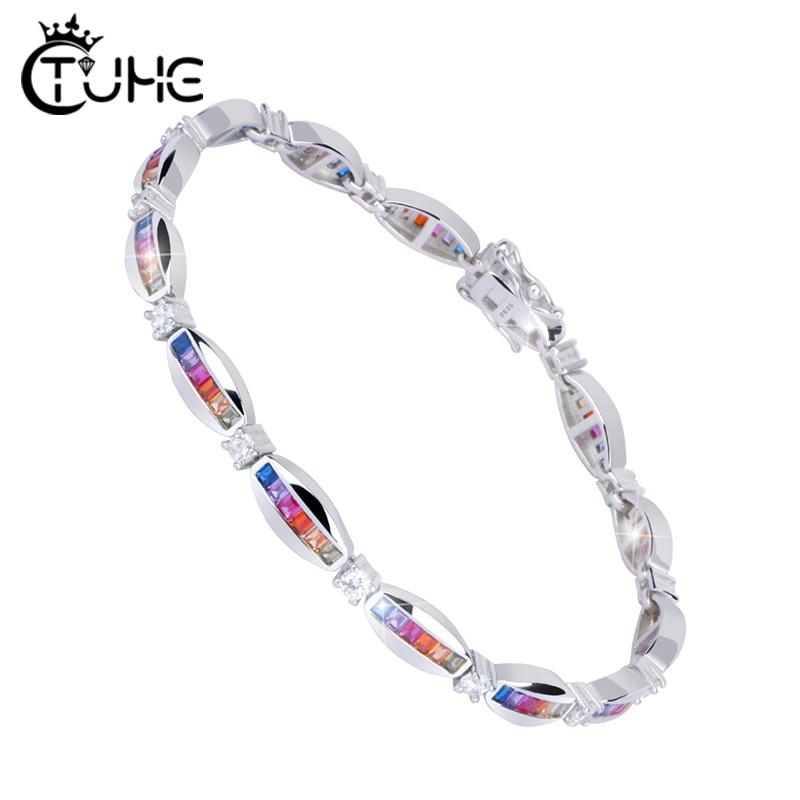 100 925 Sterling Silver Jewelry Rainbow Bracelet Bangles Fashion Oval CZ Tennis Chain Multi Color Zircon