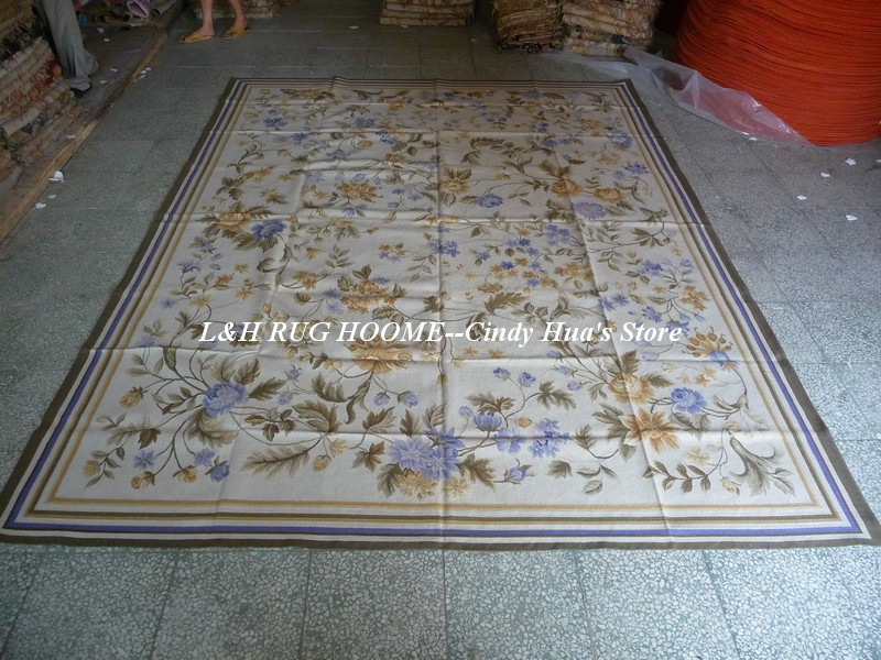 Free shipping  9'x12'  Aubusson rugs white ground with blue floral - Home Textile