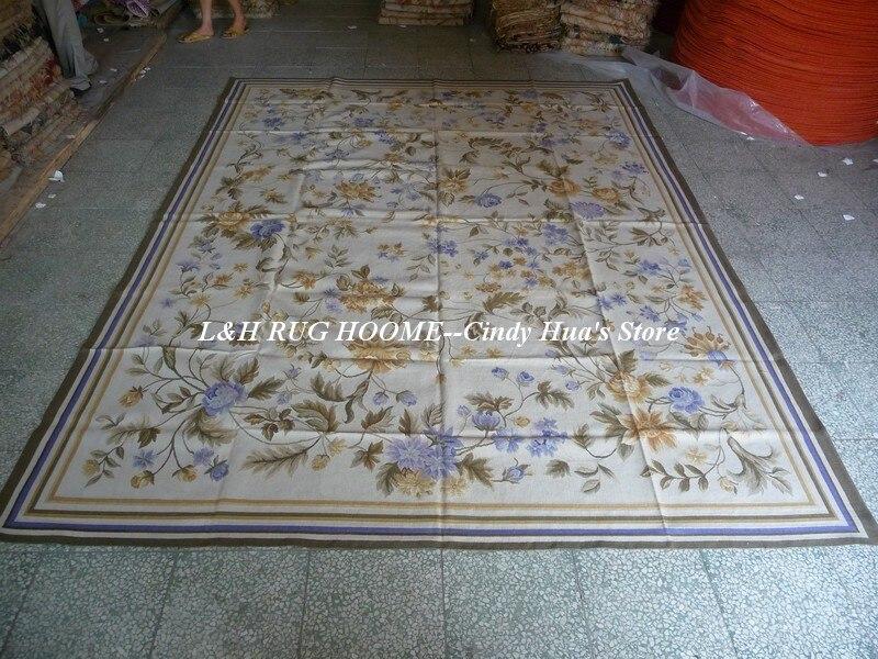 Livraison gratuite 9'x12' tapis Aubusson sol blanc avec motifs floraux bleus superbes tapis aubusson de style français